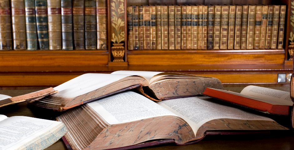 Law books open on desk
